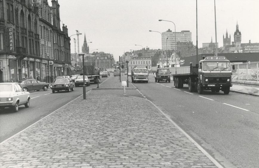 Looking north up Market Street towards Aberdeen city centre, 21 October 1981.