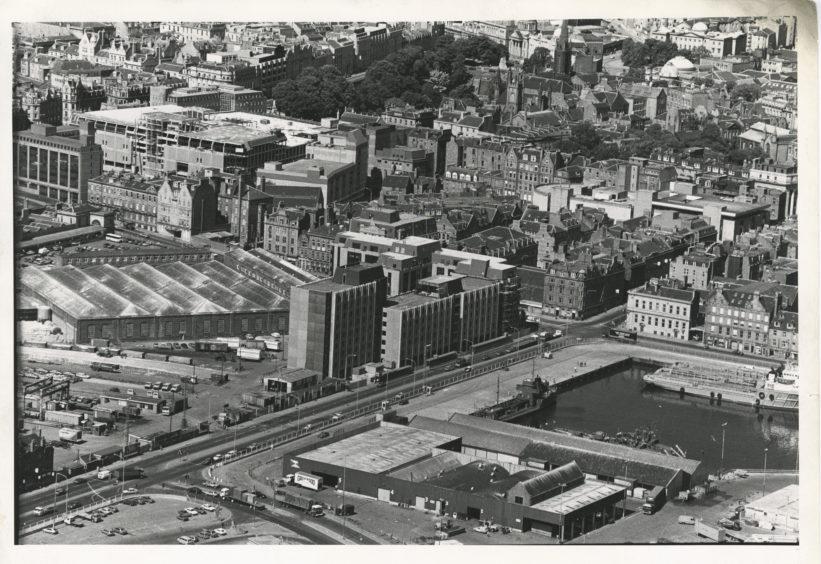 A birds-eye view of Market Street, Aberdeen, and St Magnus House.  25 July 1983.