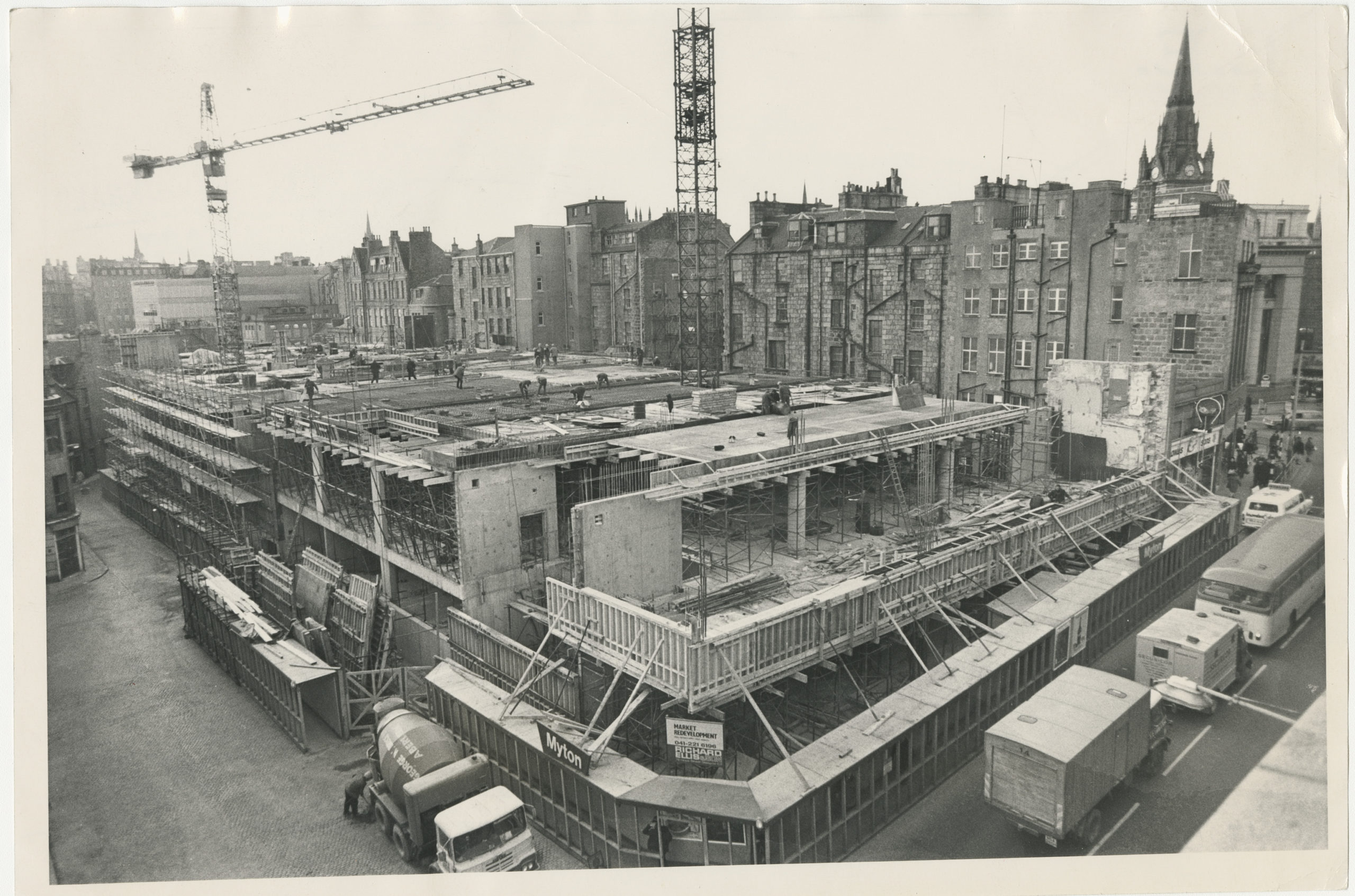 The Aberdeen New Market development at juntion of Market Street and Hadden Street showing constuction well under way.  The rear of the Union Street tenements can be seen. 9 February 1973.
