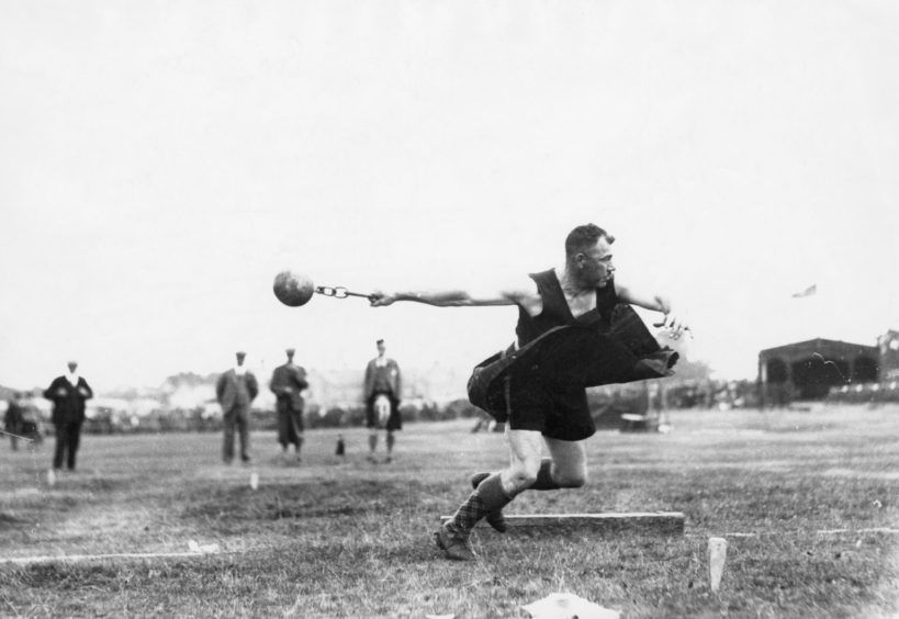 Dundee policeman, Ed Anderson, competes at the Aboyne Games in 1933.