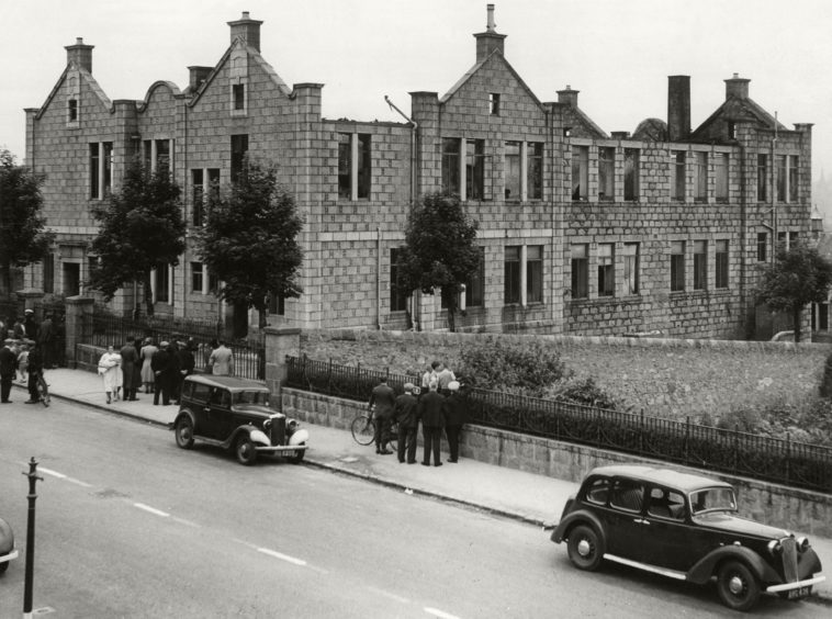 The gaunt shell of Victoria Road School, Torry, after Aberdeen's second air raid on July 1, 1940, the school, a pre 1914 building lined with pitch pine, was a roaring furnace. The glare was seen over the whole city and attracted huge crowds. Fortunately, there were no casualties.