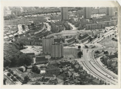 An aerial view looking south towards the Anderson Drive roundabout at Rosehill Drive and Provost Rust Drive.  Hilton Court and Stewart Park Court multi-storey flats can been seen to the left of the roundabout.  12 July 1984.