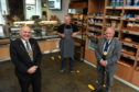 Lord Provost Barney Crockett at The Bread Maker with manager Alistair Reid and Mervyn Donald