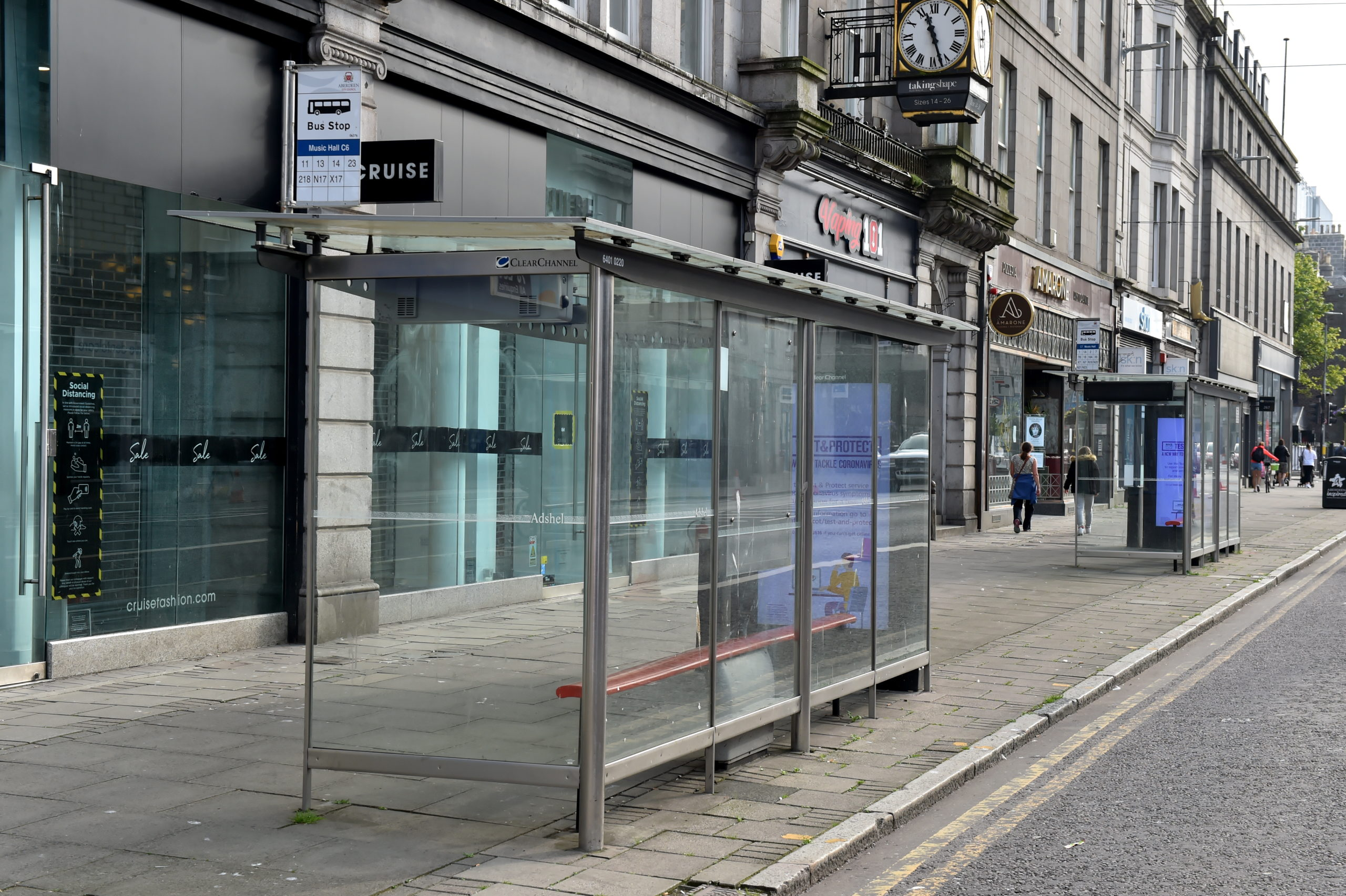 The bus stop on Union Street, opposite Huntly street, where the incident took place
