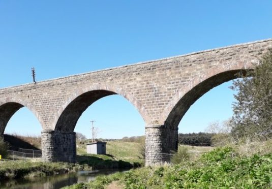 Paths under Ellon Viaduct were closed last month because of falling masonry.