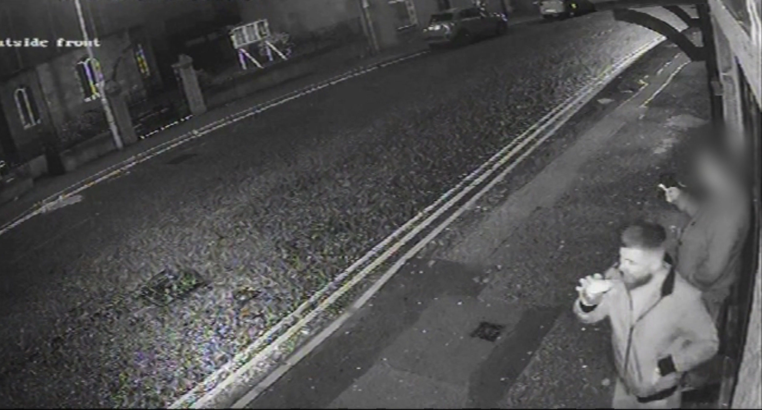 A shocking CCTV image shows Henderson outside the Staging Post Pub at 9pm.