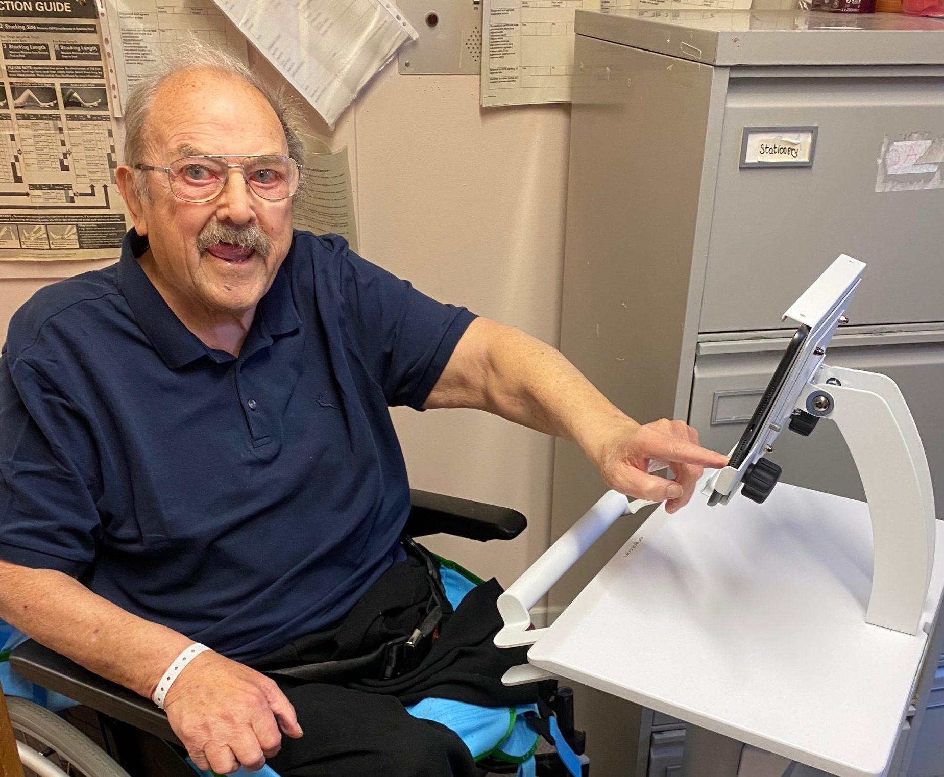 Jim Cameron, 84, making use of the virtual visiting facilities