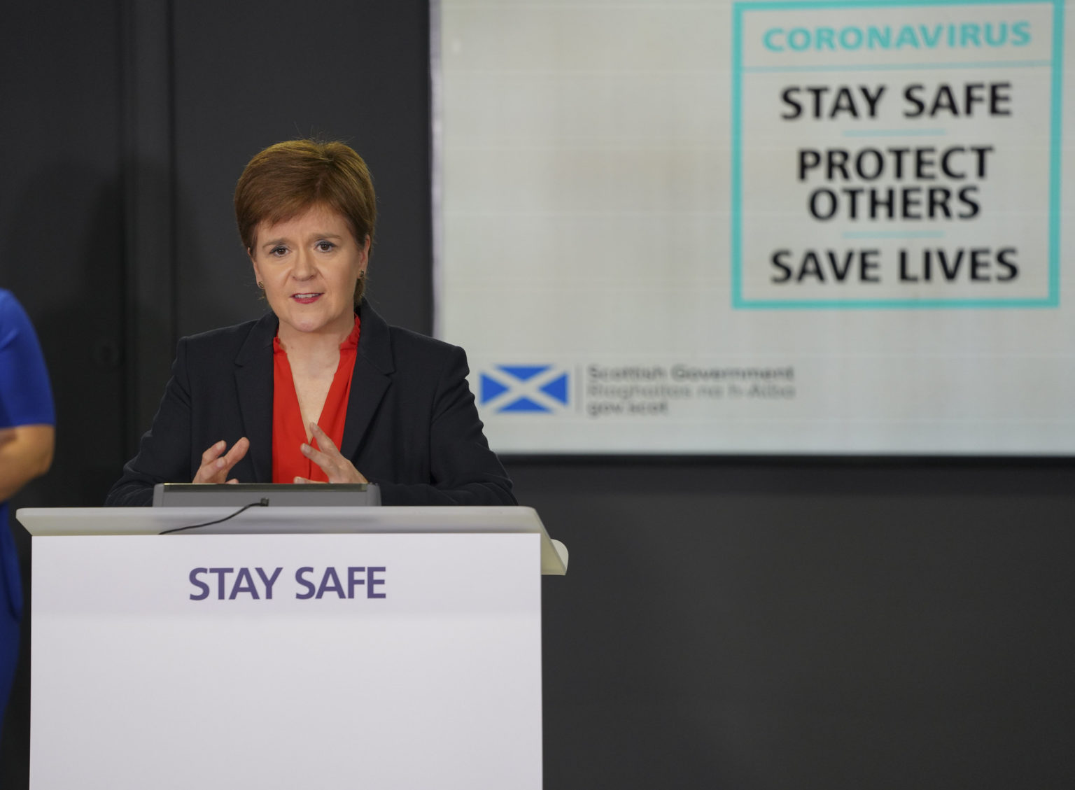 First Minister Nicola Sturgeon speaking during the daily coronavirus briefing on Monday.