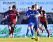 Jack Leitch, right, in action for Peterhead.