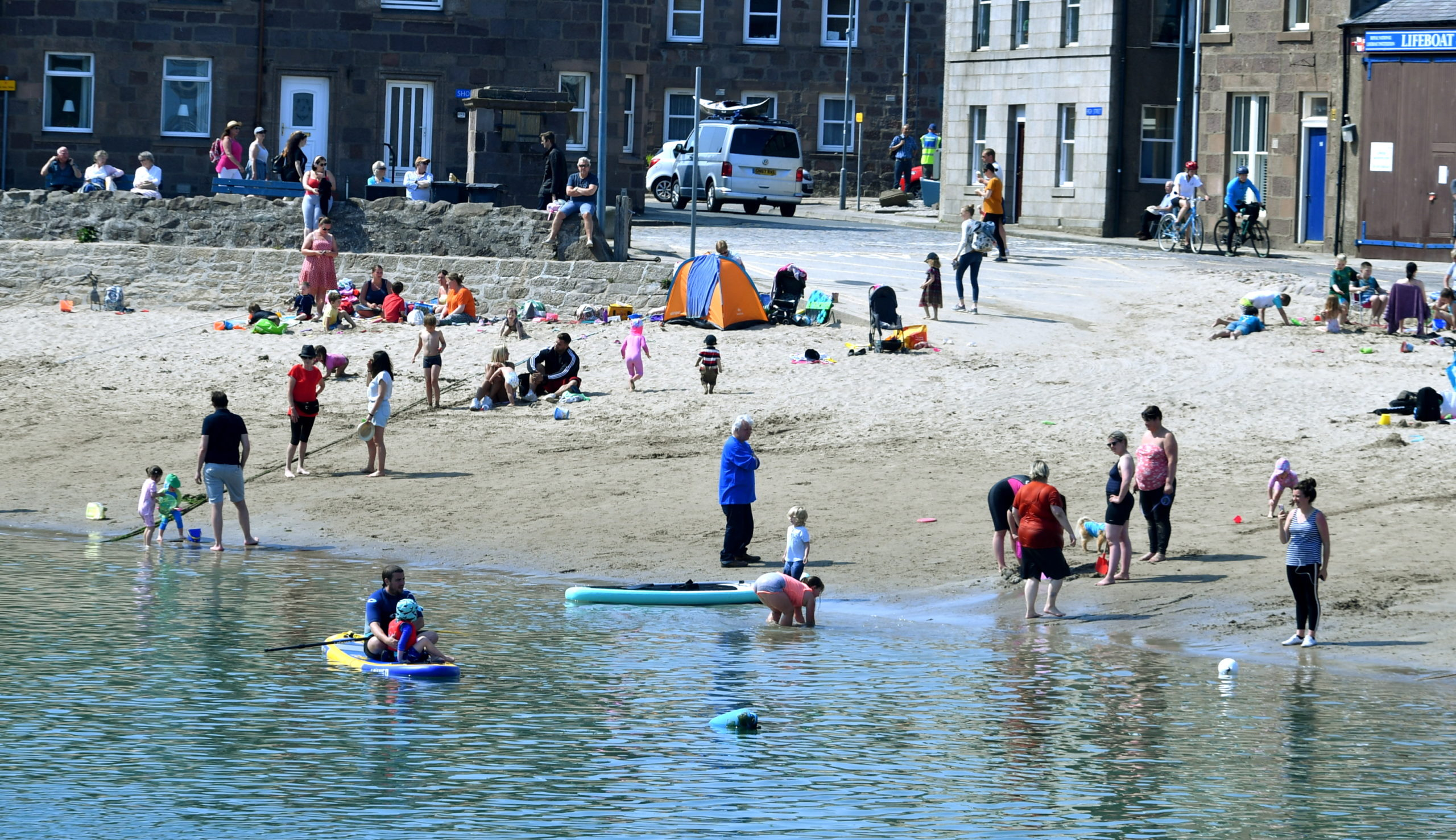 People flocked to Stonehaven beach today