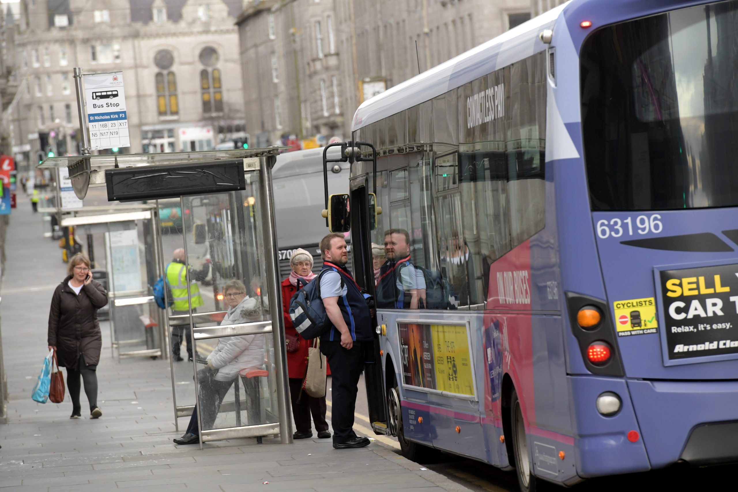 A bus picks up passengers on Union Street. Picture by Kath Flannery