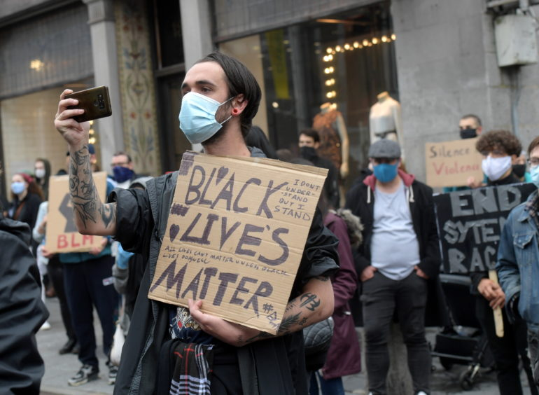 A Black Lives Matter protester on Union Street.