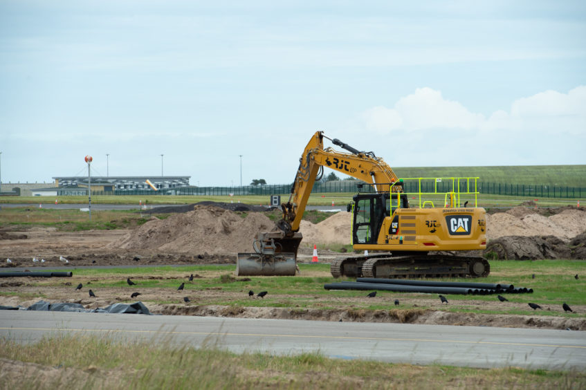 Runway resurfacing works were suspended at RAF Lossiemouth. Picture by Jason Hedges.