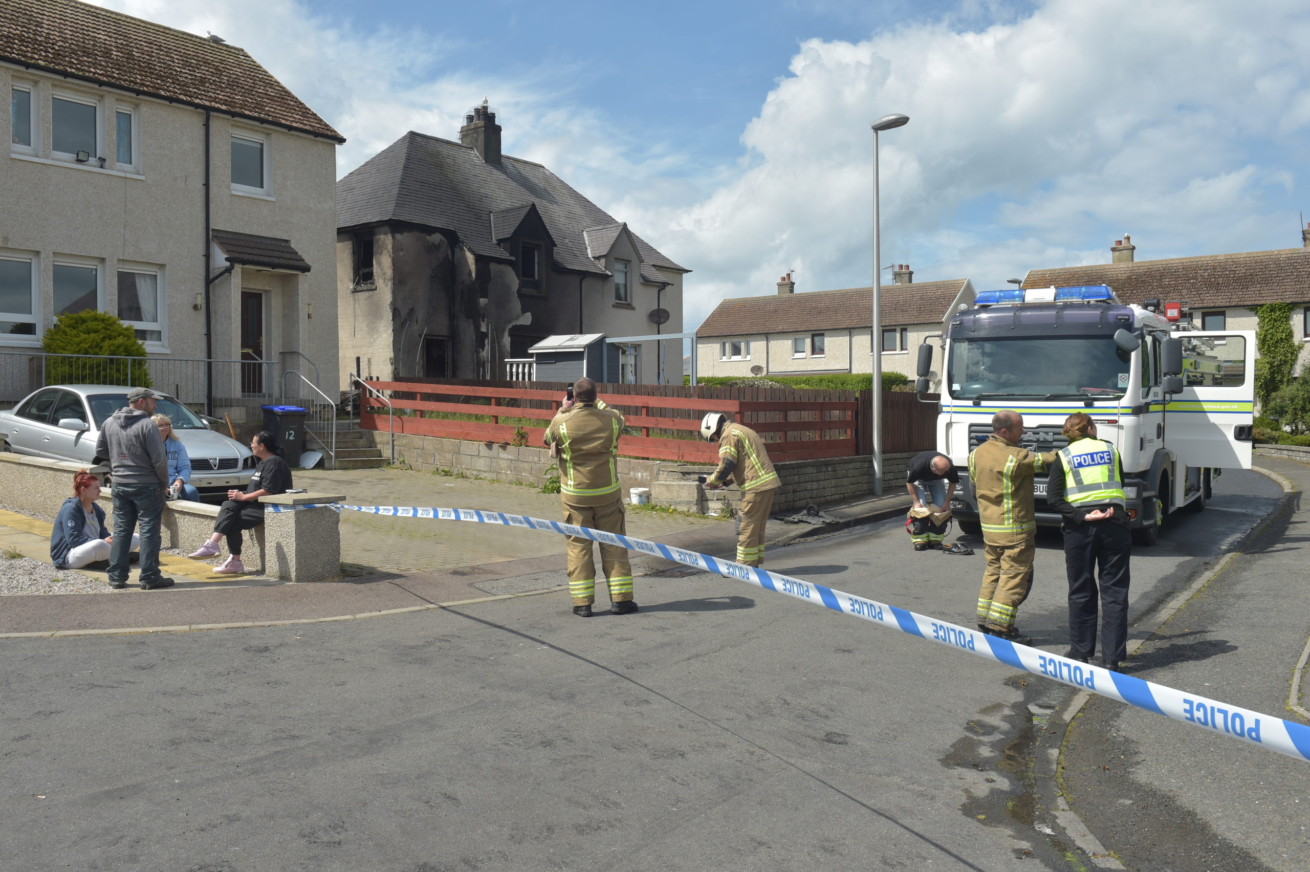 Emergency services at the scene of a fire on Seafield Road, Banff. Picture by Jason Hedges 09/06/2020