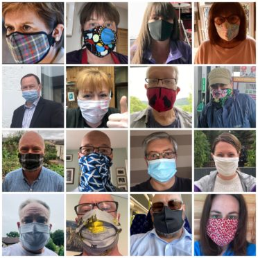 Collages of SNP members wearing face coverings, organised by Aberdeenshire East MSP Gillian Martin
