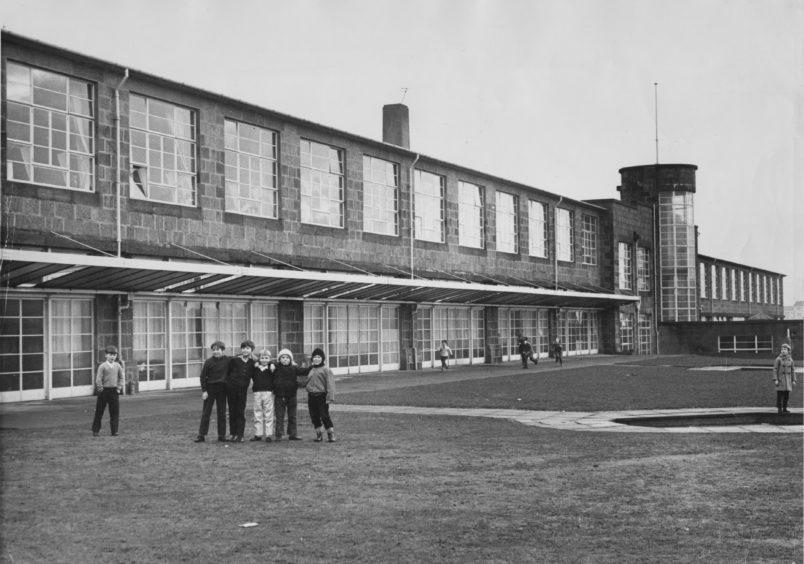 The show frontage of Tullos School was half-built in 1938-39. Then World War II supervened and it was not until 1951 that the completed school was opened. This picture was taken in 1971
