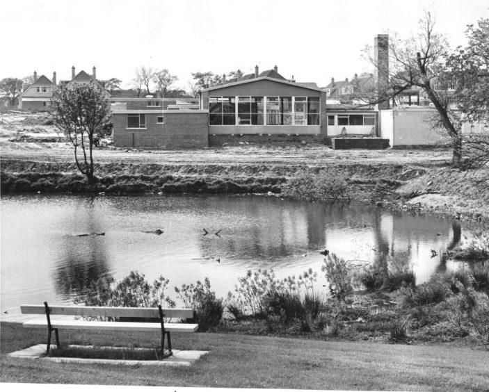 Walker Dam School during its construction in 1966