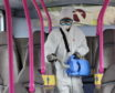 The new fogging machine being used to clean buses