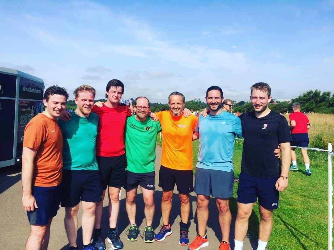 Members of the Granite City Wanderers mens team on a park run before lockdown.