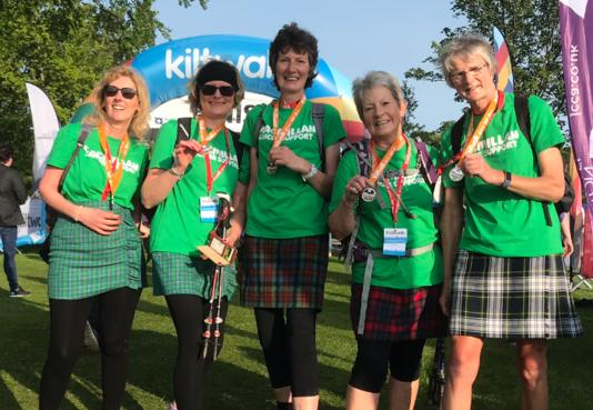 Members of the Skene Fundraising Group at last year's Aberdeen Kiltwalk.
