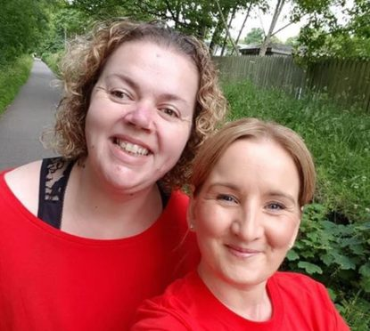 More than £1,800 was raised for Orchard Brae by Lisa, Sarah and their families through a sponsored walk
