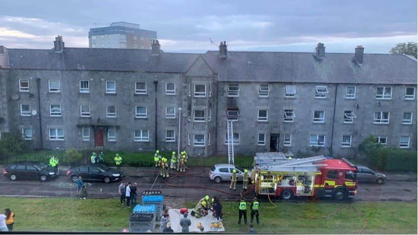A fire ripped through one of the flats at Printfield Terrace