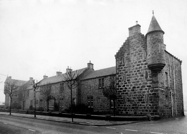 The former barracks on King Street were home to Grampian Region buses when this photo was taken in 1985.