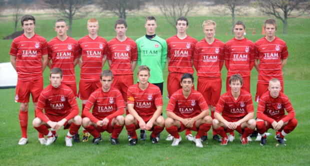 Some of the players from Aberdeen's youth squad in 2009/10. Pictured, from left, are (back row), Dominico Gibson, Dean Jarvis, Anthony Bolger, Lewis Davidson, Lukasik Przemyslaw, Joseph Shaughnessy, Jordon Brown, Clark Robertson, Gilli Sorensen and front, from left, Jamie Masson, Conor Devaney, Stirling Smith, Callum McRobbie, Mitchel Megginson and Nicky Low. Picture by Chris Sumner