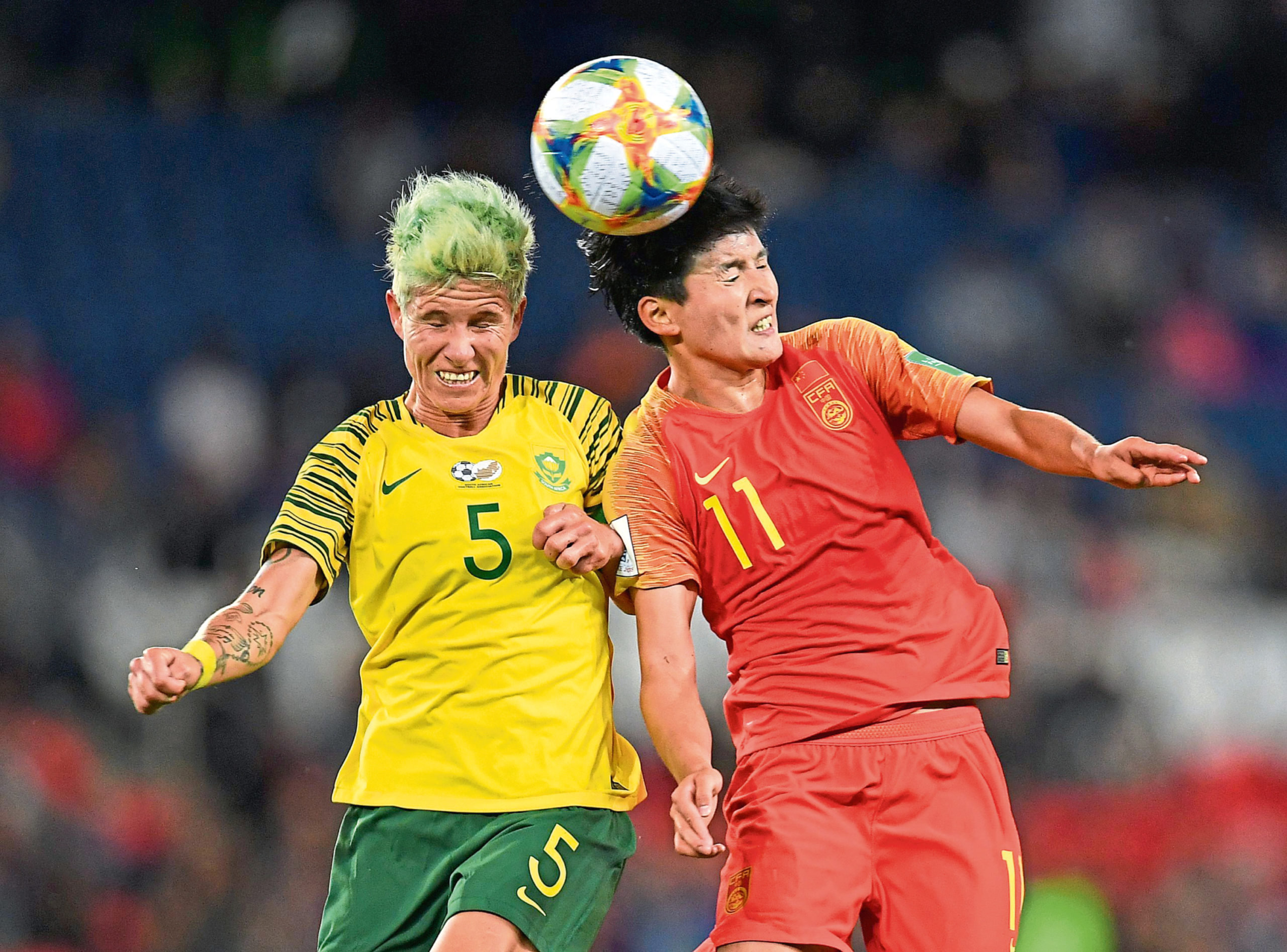 Janine Van Wyk, left, playing for South Africa at the World Cup in France last summer.