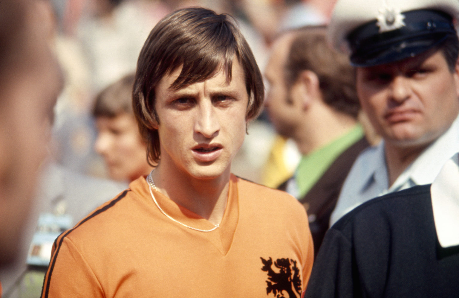 Dutch footballer Johan Cruyff at the World Cup in West Germany in 1974.