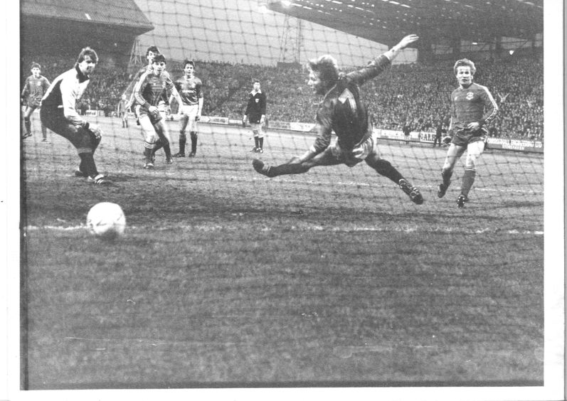 The goal which completed McDougall's hat-trick.