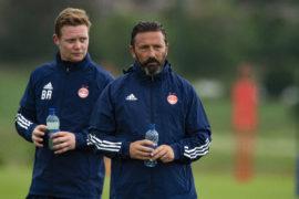 Derek McInnes with Aberdeen coach Barry Robson