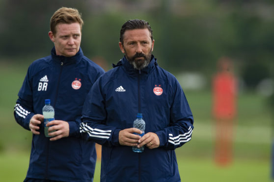 Derek McInnes with Aberdeen coach Barry Robson.