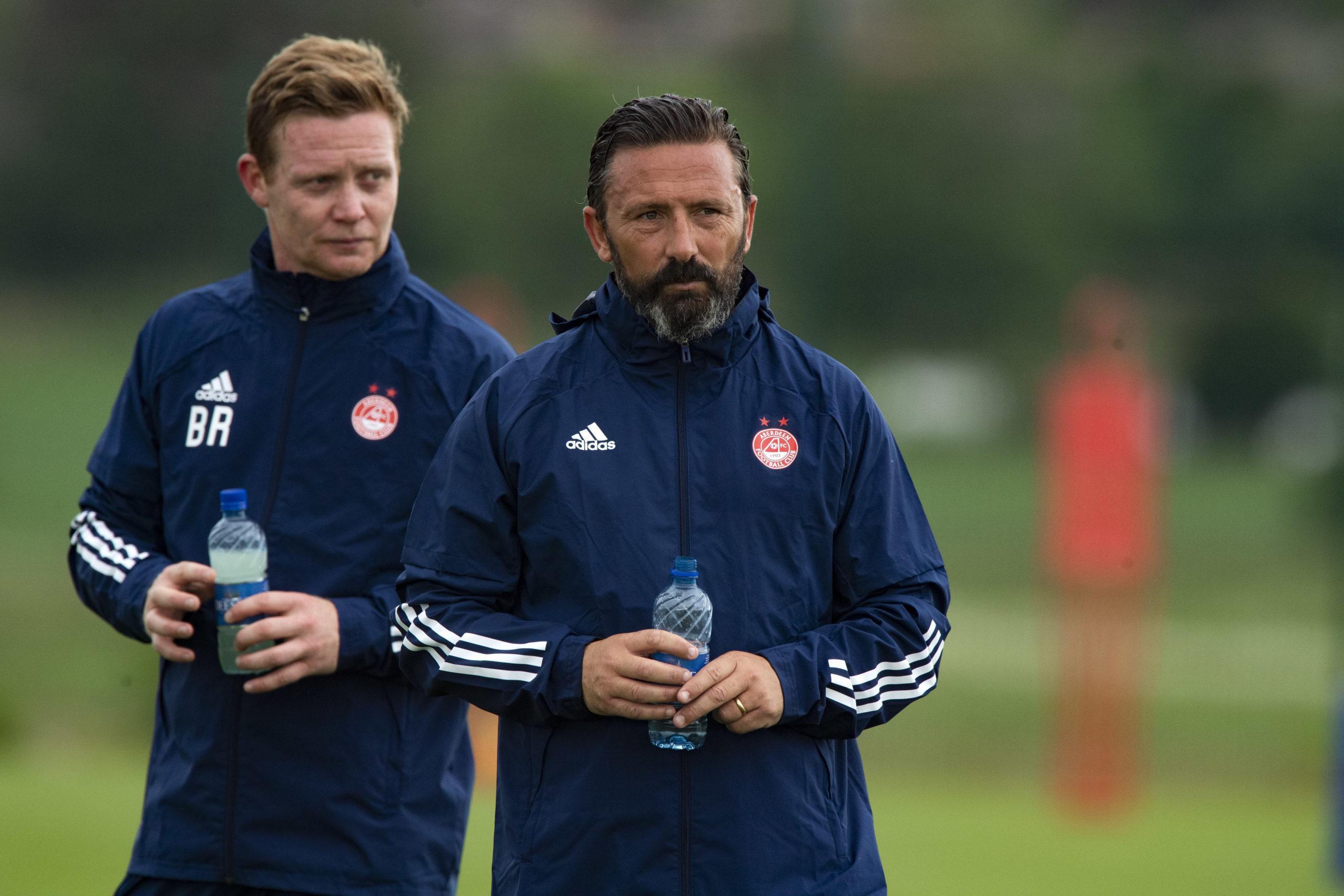 Derek McInnes with Aberdeen coach Barry Robson.