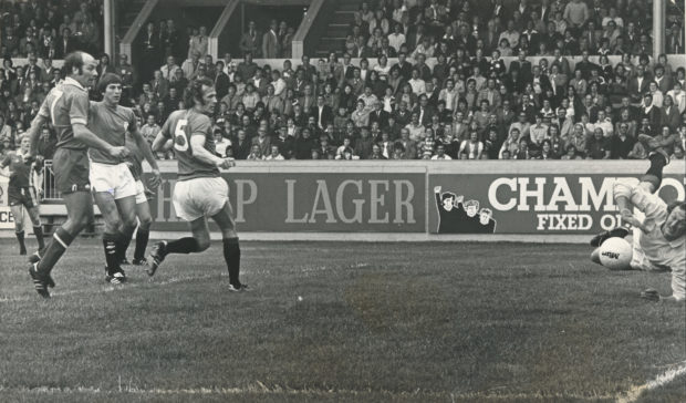 Drew Jarvie scores in the 1977/78 opener between Aberdeen and Rangers.