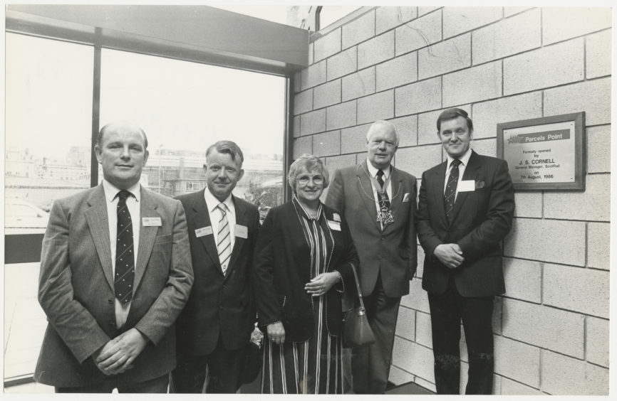 1986: Pictured at the official opening of the new £350,000 Red Star parcels point at Aberdeen railway Station are Bob Buick (British rail regional parcels area manager), John Gough (BR area manager), Lady Provost Margaret Rae, Lord Provost Henry Rae; Jim Cornell (BR general manager) who performed the opening ceremony.