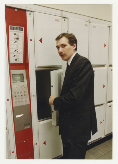 1991: Aberdeen ScotRail service manager Steven Montgomery checks out the new locker system at Aberdeen Railway Station.