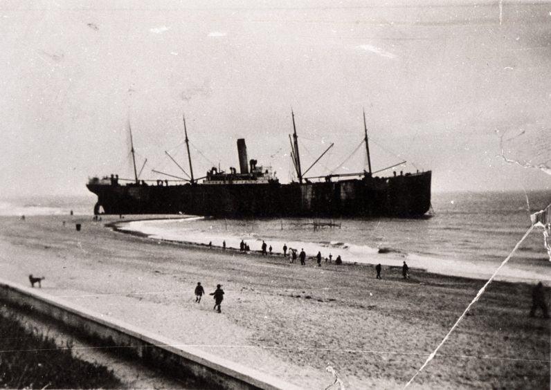 During Aberdeen's heyday as a holiday destination it was also a centre of maritime industry. This photograph from 1929 shows the steamship Idaho ashore on Aberdeen Beach. The vessel arrived in dense fog and missed the harbour entrance. It was re-floated and repaired in Aberdeen before heading to the Clyde.