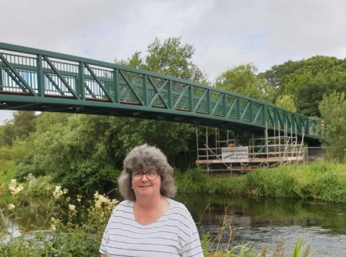 Councillor Gillian Owen at the new footbridge in Meiklemill