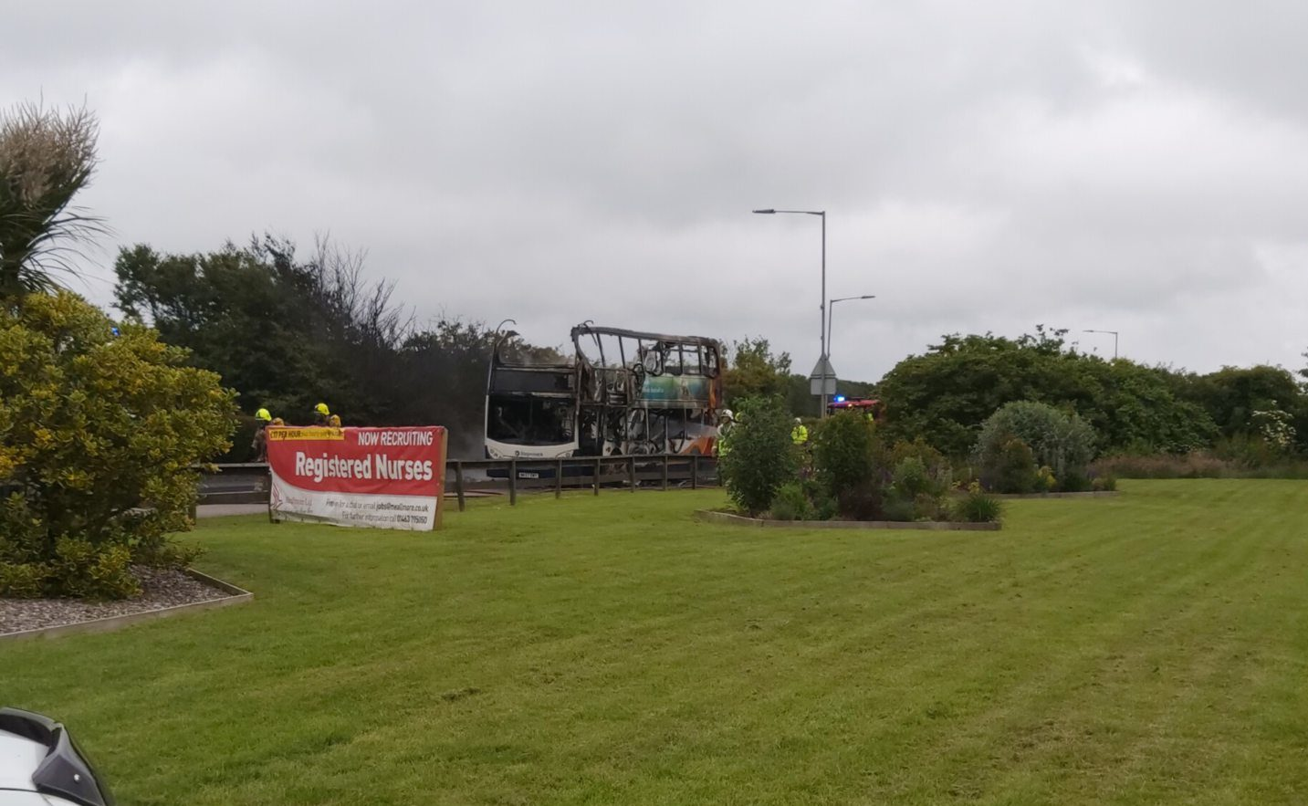 Fire crews were called to the scene at 2.25pm