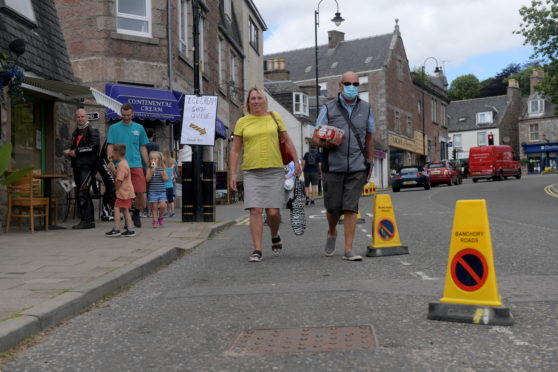 Social distancing measures have been put in place on Banchory's Dee Street