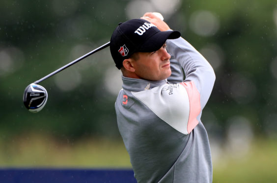 Scotland's David Law tees off on the 5th during day two of the Betfred British Masters at Close House Golf Club, Newcastle.
