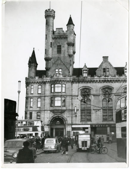 1957: The streets are busy in front of the The Salvation Army Citadel in Castle Street, Aberdeen.