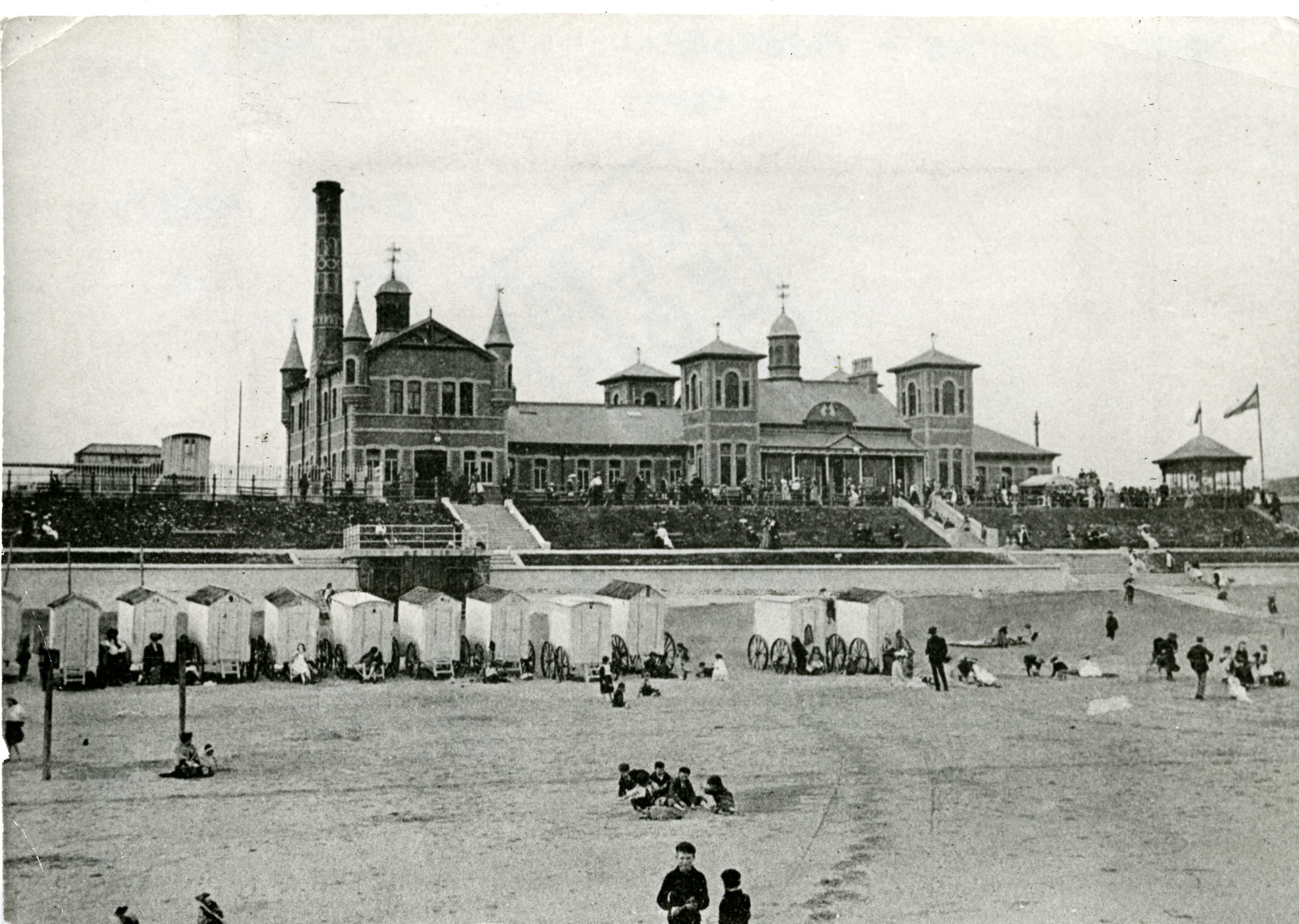 The Beach Baths at Aberdeen seafront.  Bathing huts can be seen on the beach.