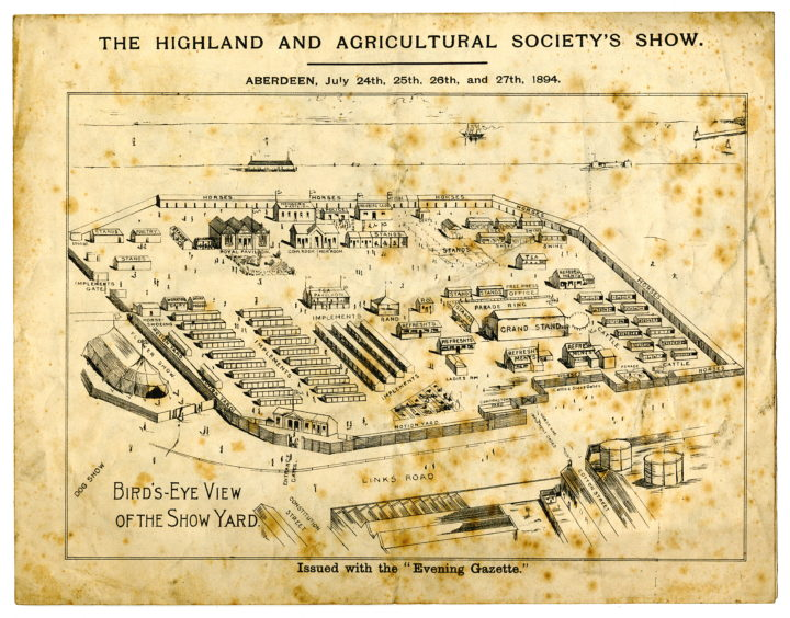 The links, the ground between the beach and the town, has been used for various events and exhibitions. This newspaper supplement shows an exhibition organised by the Highland and Agricultural Society in July 1894. It took place on the Queen's Links in front of the Banner Mill factory.