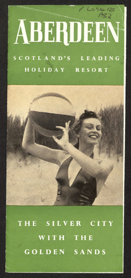 """In the mid-20th century the city made considerable effort to promote the beach as an outstanding visitor attraction. This Aberdeen Corporation Publicity Department leaflet from the 1950s features a woman enjoying the beach and the campaign's familiar slogan, """"the Silver City with the Golden Sands""""."""
