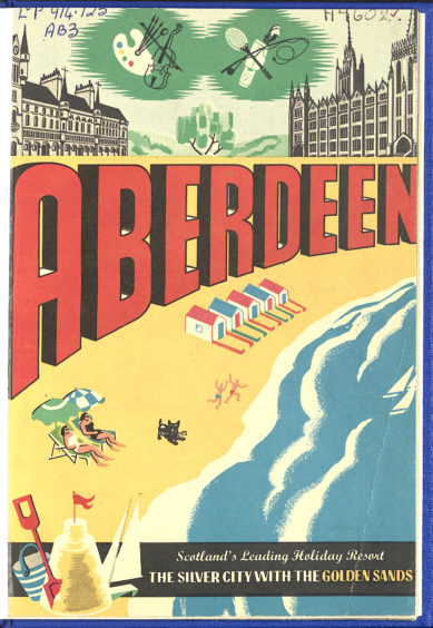 """The decorative front cover of the Aberdeen Official Holiday Guide from 1958. The beach inspired design includes the city's tourism mascot, a black Scottie dog, playing on the sand. The claim to be """"Scotland's Leading Holiday Resort"""" came from a Scottish Tourist Board survey of 1950."""