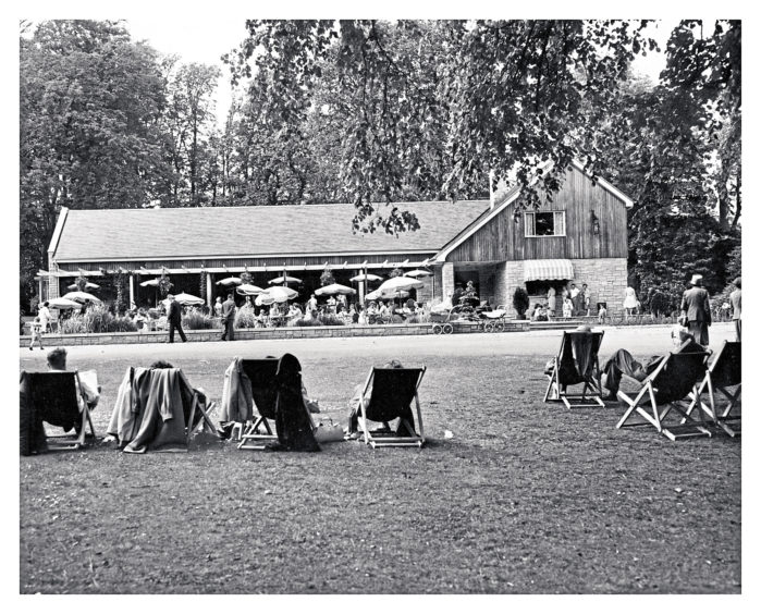 The deck chairs are out and Aberdonians relax in the sun at Hazlehead Park in 1961. Families enjoy a cup of tea and a snack under the sunshades at the restaurant while a queue waits patiently for ice cream.
