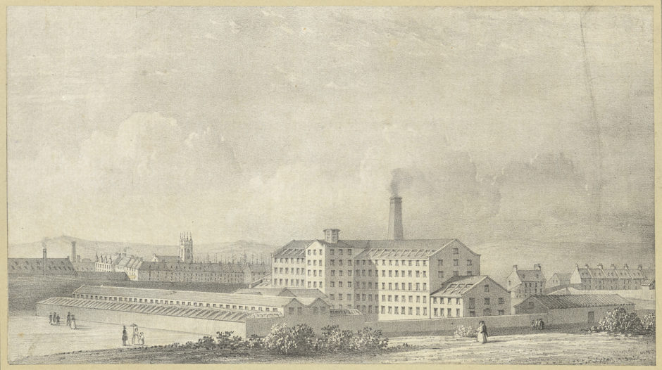 Industry has historically existed side-by-side with the recreational aspect of the beach. This engraving by W. Clerihew shows the Banner Mill cotton factory in 1837. This industrial site stood throughout the 20th century on the north side of what is now the Beach Boulevard.