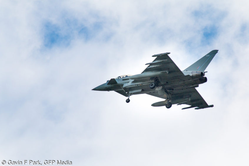 The RAF fighter jet on approach to Aberdeen airport. Picture courtesy of GFP Media